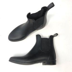 J.Crew Chelsea Ankle Rubber Rain Boots Black